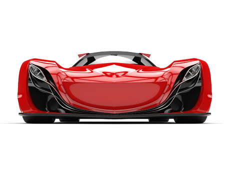 car tire: Scarlet red awesome race super car - front view