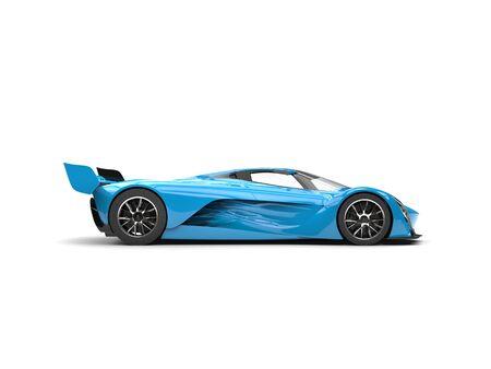 Azure blue super race car - side view Stock Photo