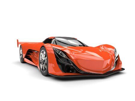 car tire: Vivid orange concept racing super car - beauty shot