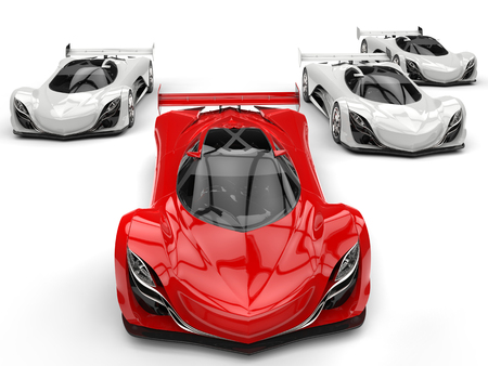rim: Futuristic concept race sports cars racing - red in front of all the white ones