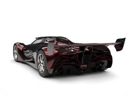 Metallic red futuristic super race car - tail view
