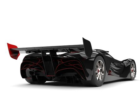 Gunmetal black racing super car with red details - tail view
