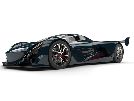 Dark teal race concept super car with red details - beauty shot