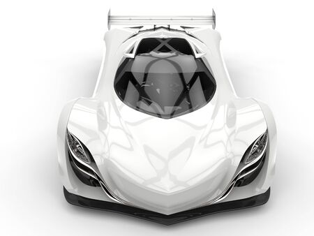 racing: Clean white futuristic racing concept car - top down view