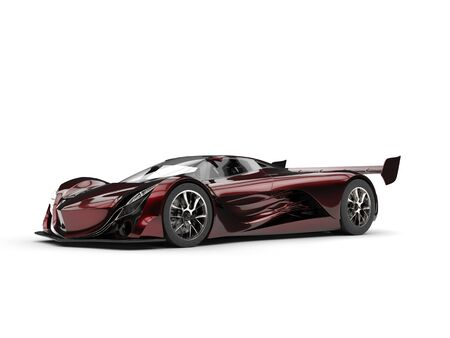 Metallic red futuristic super race car - studio shot