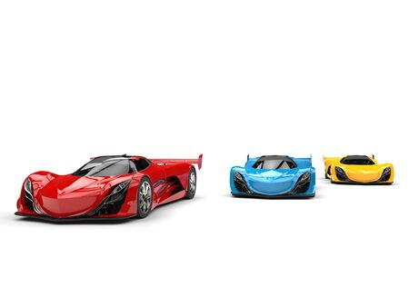 car tire: Awesome red, blue and yellow concept sports cars Stock Photo