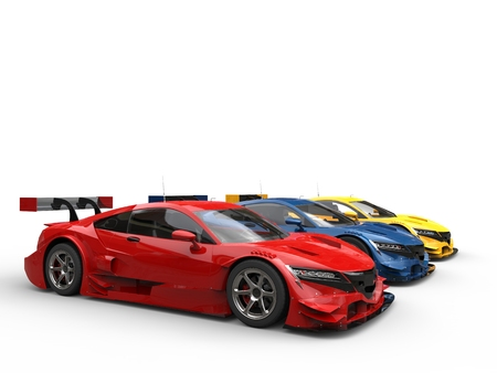 car tire: Red, blue and yellow super sports concept cars Stock Photo
