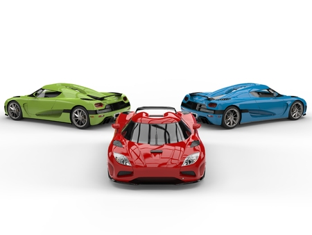 Red, green and blue sublime sports cars - back to back