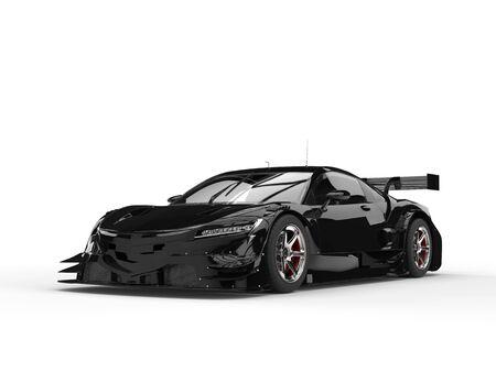 car tire: Jet black concept super sports car - beauty shot Stock Photo