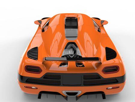 car tire: Rich orange luxury modern sports concept car - back view