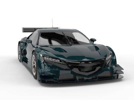 car tire: Deep jungle green super concept sports car