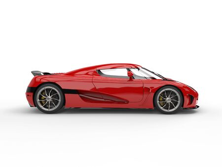 Beautiful scarlet red futuristic sports car - side view Stock Photo