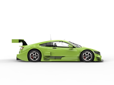 Electric lime concept sports car - side view Stock Photo