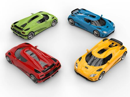 car tire: Circle of awesome colorful super concept cars