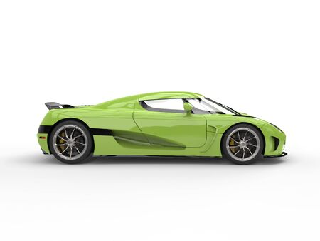 Electric lime green modern sports car - side view