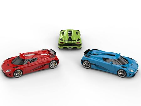 Red, green and blue sublime sports cars