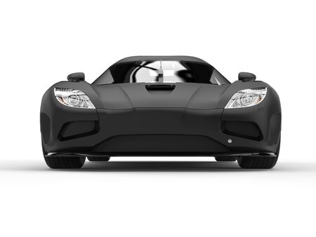car tire: Awesome matte black super sports car - front view