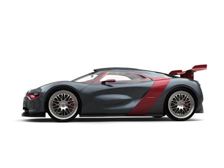 Super sports car - slate gray with metallic cherry red side panels and rear wing - beauty shot Stock Photo
