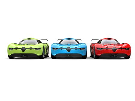 car tire: Concept sports cars in red, green and blue colors - front view