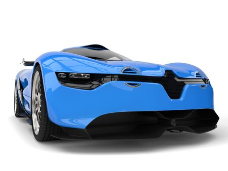car tire: Beautiful rich blue concept sports car - closeup shot Stock Photo