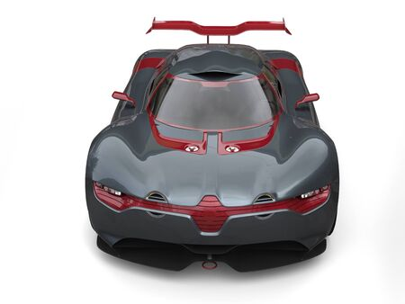 Super sports car - slate gray with metallic cherry red side panels and rear wing - front view Stock Photo