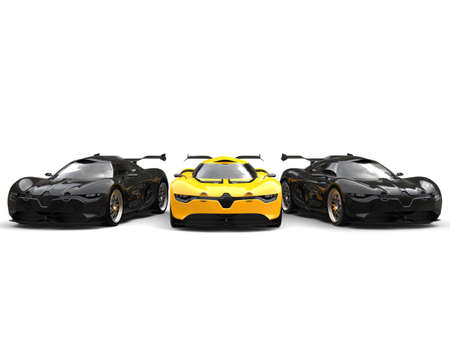 car tire: Beautiful yellow super car stands out between two black sports cars