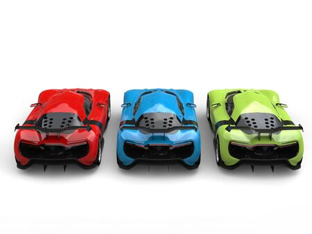 Concept sports cars in red, green and blue colors - back view
