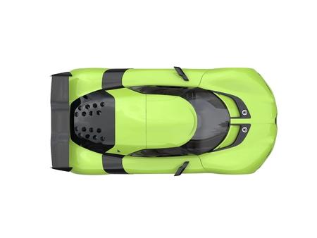 car tire: Chartreuse green modern super sports car - top view