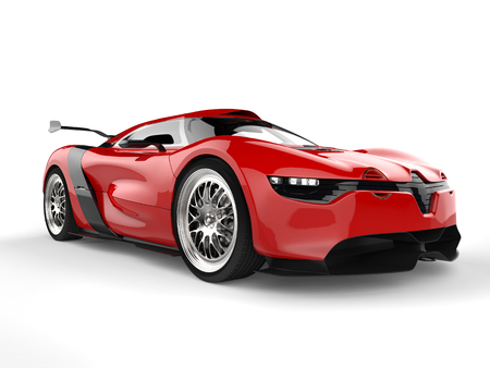 Shiny red sport concept car - beauty shot