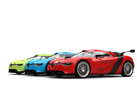 Concept sports cars in red, green and blue colors - beauty shot Stock Photo
