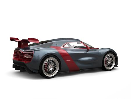 Super sports car - slate gray with metallic cherry red side panels and rear wing