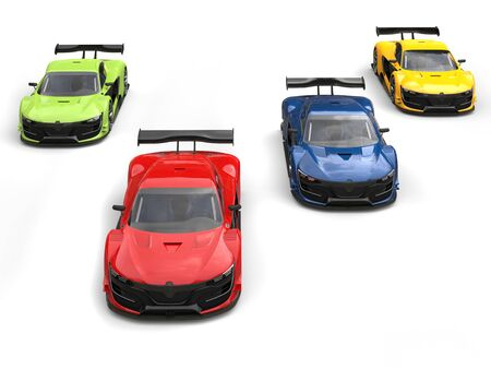 racing: Amazing super sports cars racing - red one leading the race Stock Photo