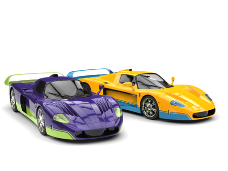 Absolutely amazing purple and yellow concept super cars with details in complementary colors Stock Photo