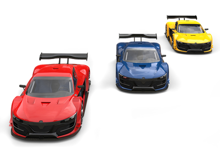 car tire: Red, blue and yellow supercars - red one in the front