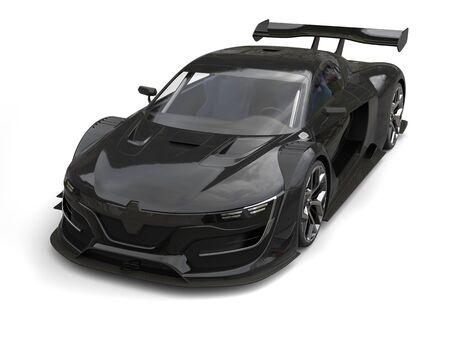 Gunmetal black super car - top down studio shot Stock Photo