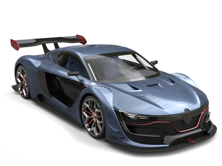 car tire: Superb super sports car - metallic gray blue color with red details
