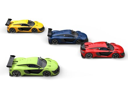 car tire: Colorful super race cars - top down view
