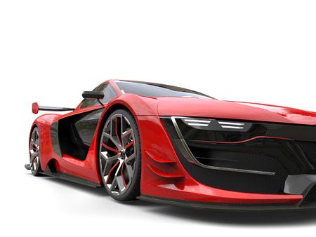深紅の赤の美しいレースのスポーツカー - クローズ アップ ショット