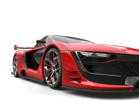 Crimson red beautiful race sports car - closeup shot 版權商用圖片 - 80579234