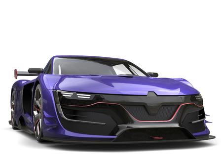 Stunning regalia purple super car - front view Stock Photo - 80579240