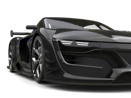 Gunmetal black super car - front view extreme closeup shot Stock Photo