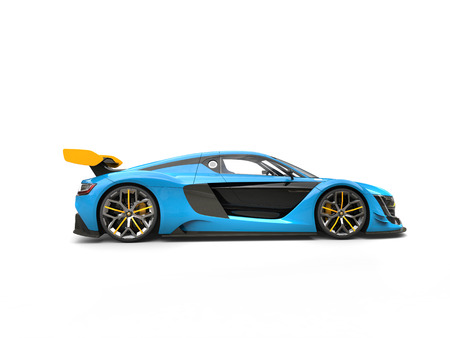 Blue sports car with yellow spoiler wing - side view