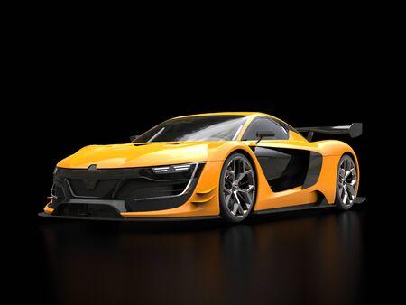 Levendige gele super sportwagen in zwarte showroom - onscherpe bezinningen Stockfoto