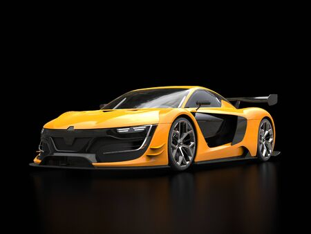 Vivid yellow super sports car in black showroom - blurry reflections