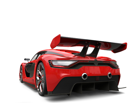Crimson red beautiful race sports car - rear wing closeup Stock Photo