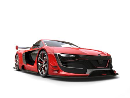 rim: Beautiful race sports car - crimson red color Stock Photo
