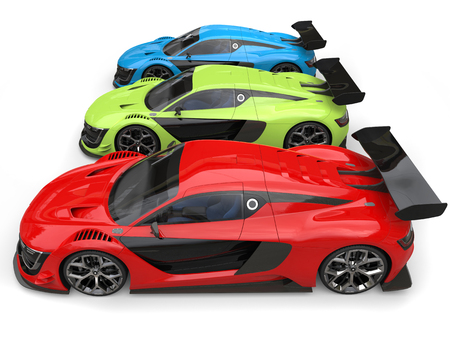 Red, green and blue super cars - side view