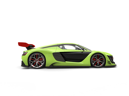 Lime green super sports car with red spoiler