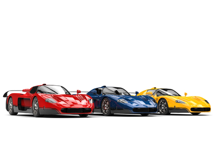 Striking concept sports cars in red, blue and yellow colors - beauty shot Stock Photo