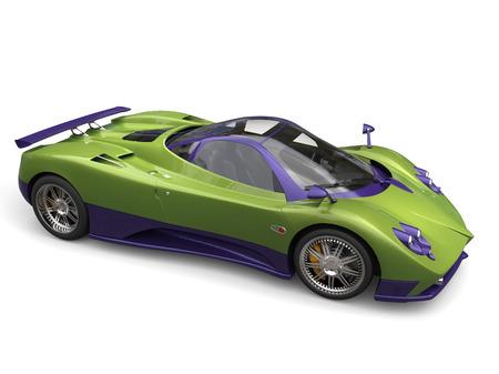 Race car - metallic green purple color scheme - top side view